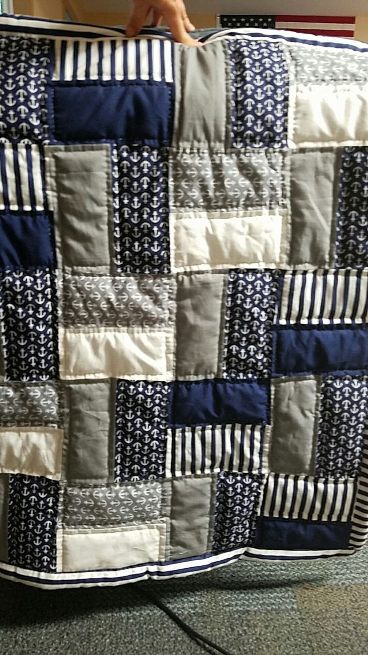Nautical baby quilt I just finished for a friend. Easy pattern just cut up rectangles and priced together