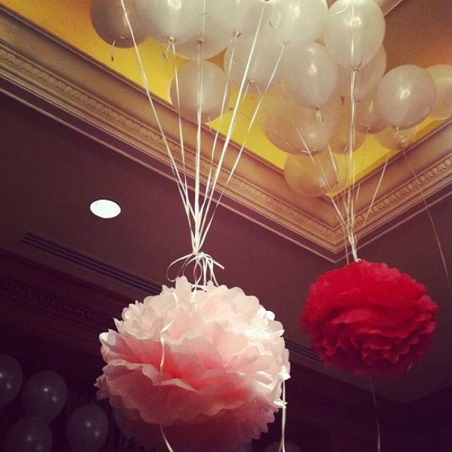 tissue paper on ballons | Balloons & Tissue Paper Flowers | Baby Ideas