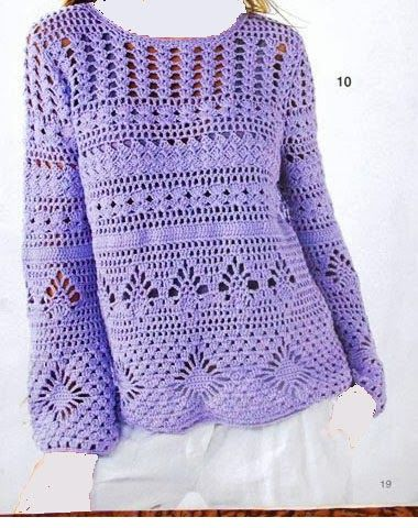 Linda blusa lilás de crochê com faixas em pontos diferentes