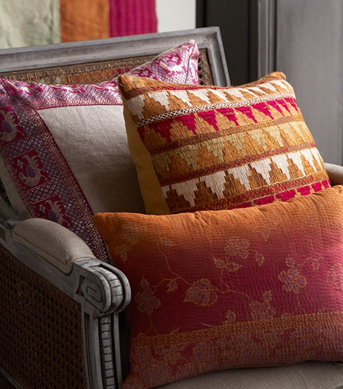 Wisteria pillows - inspired by phulkari craft from India