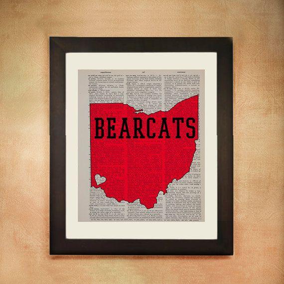 Cincinnati Bearcats Dictionary Art Print by Lexiconograph on Etsy, $8.99