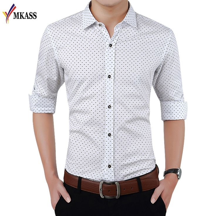 >> Click to Buy << Plus Size M-5XL New Spring Fashion Brand Men Clothes Slim Fit Men Long Sleeve Shirt Men Polka Dot Casual Men Shirt Social  #Affiliate