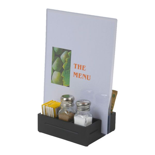 Black cafe box for restaurant table keeps things tidy