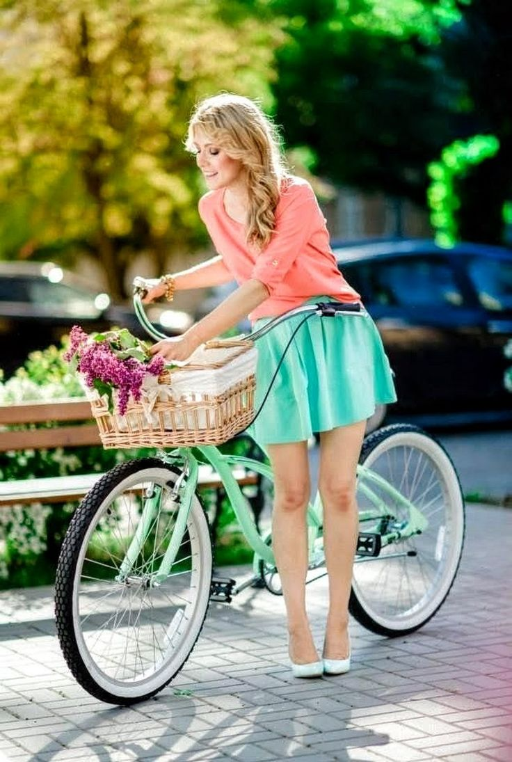 Ridiculous shoes. Adorable cruiser bicycle.