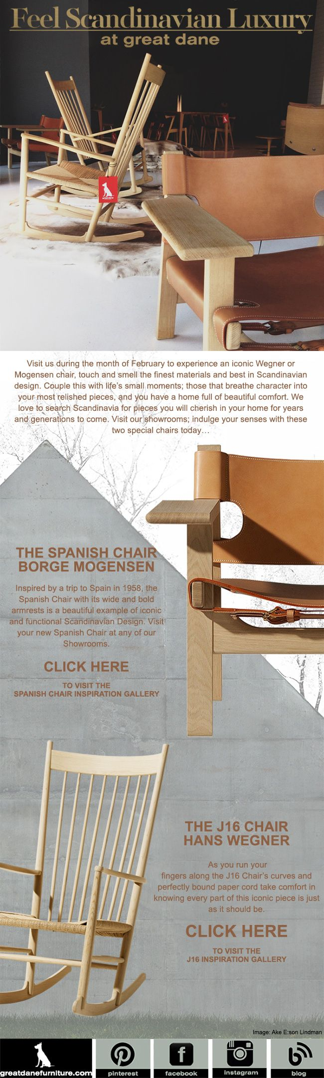 Feel the luxury that is a Borge Mogensen Chair or a J16 Hans Wegner Rocking Chair.
