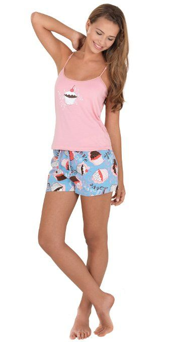 Flannel Cupcake Short Set For Women Cupcakes Pajamas -1655