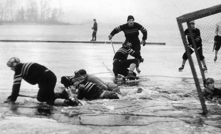 Incredible picture of an outdoor hockey game in Sweden in 1959