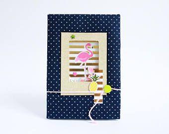Tropics scrapbook 4x6 Honeymoon photo album Tropics paradise birthday gift Flamingo mini album Summer memory book