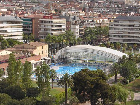 2006 - Pool DIR DIAGONAL sport center in BARCELONA  Date of construction: January 2006  Design: Basket-handle arch  Dimensions: 44,66m width × 68,65m length × 11,00m height. Roof divided in 5 retractable modules  Opening: Telescopic from the...