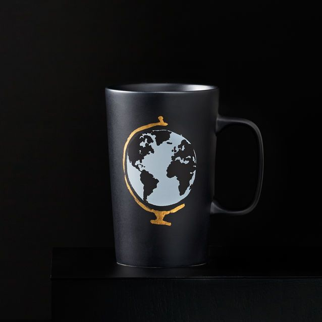 Globe Mug, 16 fl oz | Put the world and great coffee at your fingertips with this Dot Collection mug. | The big grey globe with gold painted stand forms the center dot. Black on black Starbucks name on side. | $12.95