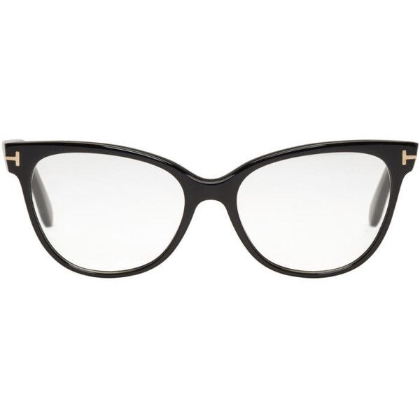 Tom Ford Black TF 5291 Glasses ($410) ❤ liked on Polyvore featuring accessories, eyewear, eyeglasses, black, tom ford, cat eye eyeglasses, cat-eye glasses, acetate glasses and tom ford eyeglasses
