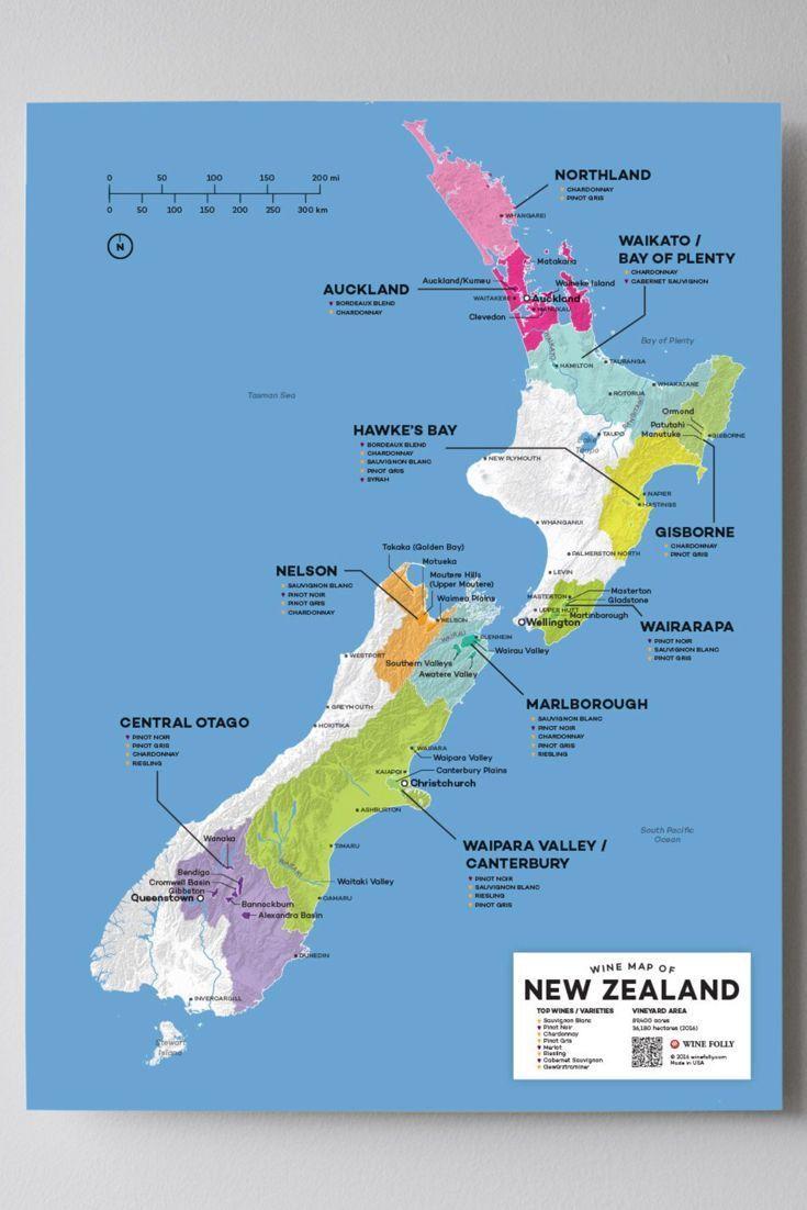 New Zealand Wine Map Neuseeland Karte Landkarte Und Sudamerika