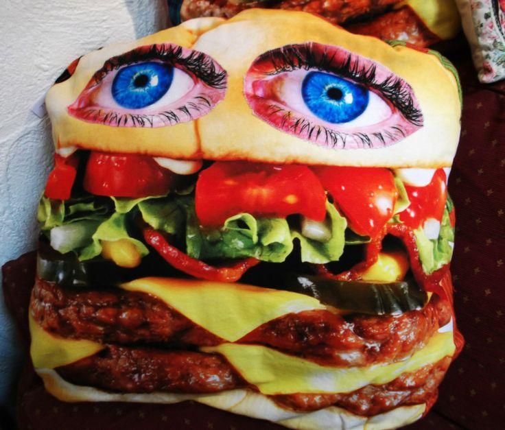 EAT-ME-IF-YOU-DARE BURGER CUSHION - Lady Gonzalez www.ladygonzalez.com