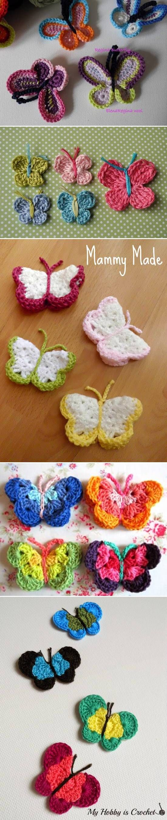 DIY Lovely Colorful Crochet Butterflies #crochet #patterns #butterfly