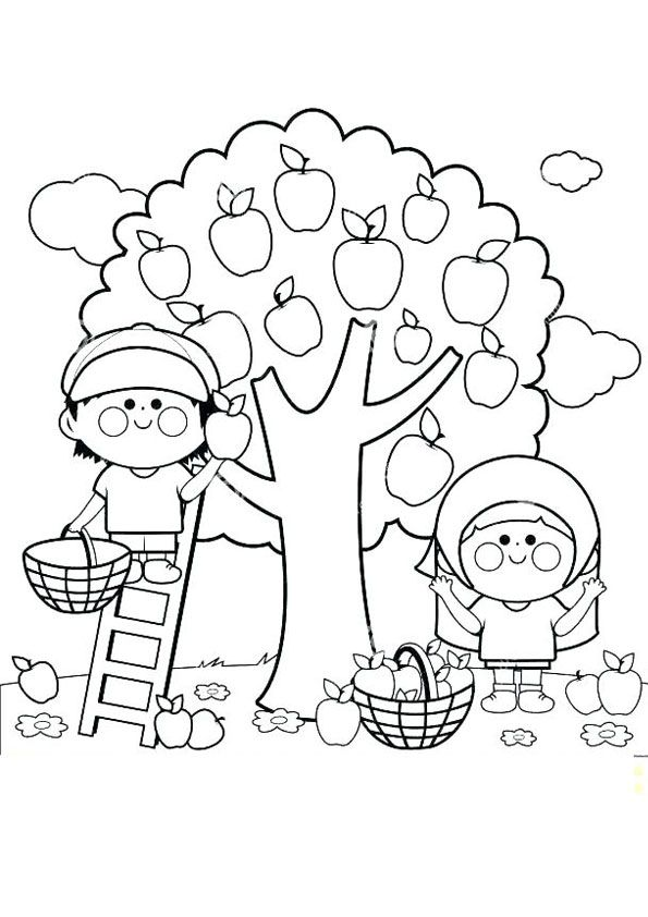 Kids Picking Apple Coloring Page For Kids Apple Coloring Pages Fruit Coloring Pages Tree Coloring Page