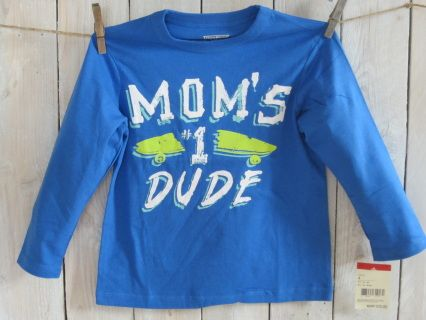 """NEW with tag! Being a Mom's boy is cool in this """"Mom's Number 1 Dude"""" deep blue OSHKOSH high quality longsleeve tee. Size 4 Measurements : width 35 cm, length 45 cm, sleeve length 35 cm Suitable for boy weight 33-36 lbs and height 41-43"""" Code B005"""