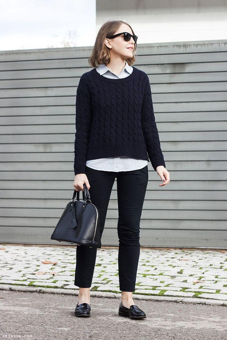 Trini   J Crew striped shirt Sandro sweater Barbour jacket  Louis Vuitton alma bag Miu Miu loafers