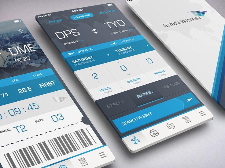 Book Flight and Boarding Pass - by Azis Pradana | #ui #ux #design #inspiration #navigation #app #interface #ios #android #flat