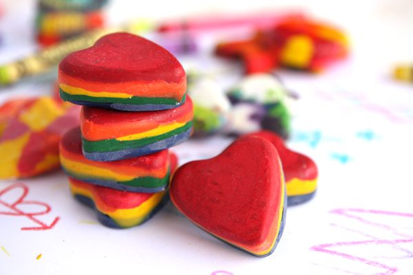 Great for all those left over crayons! Layered Heart Crayons from ourbestbites.com