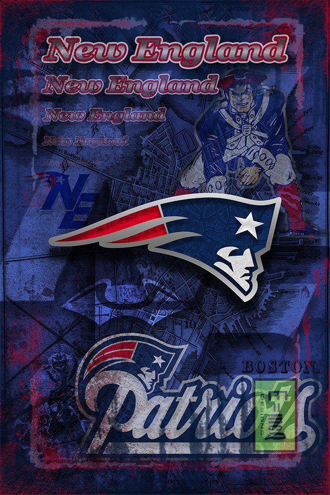 New England Patriots Football Poster,New England Patriots Gift, New En                      – McQDesign