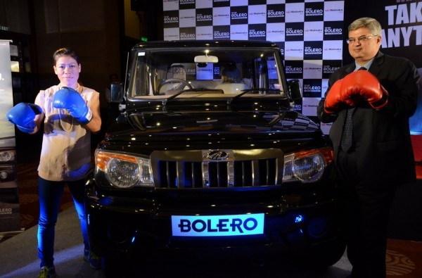 'Take on Anything' personifies all what both MC Mary Kom and Mahindra Bolero stand for. Both are ready, willing and capable of tackling the most difficult of situations in their own paths be it a boxing arena or presenting the best of performance on most diverse road conditions. With this in mind Mahindra and Mahindra have presented London 2012 Olympic bronze medal winner M C Mary Kom with a Bolero SUV from Mahindra and Mahindra.