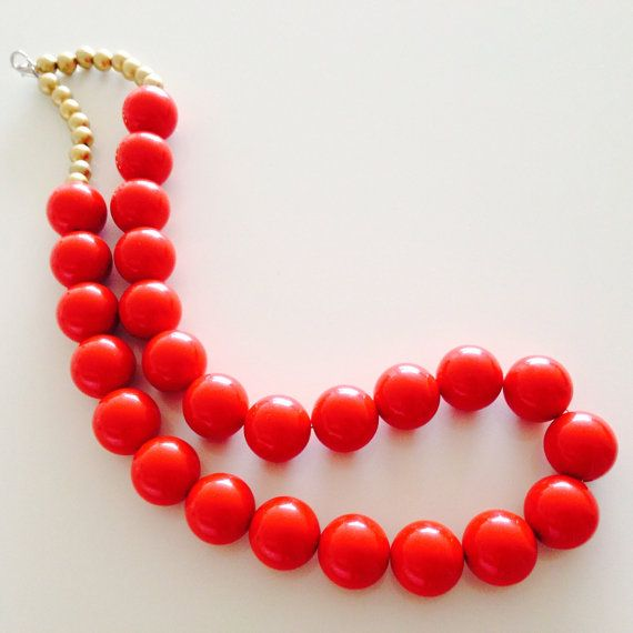Summer Red Beaded necklace/ chunky necklace/ beaded chain/ by sudarium, $9.00