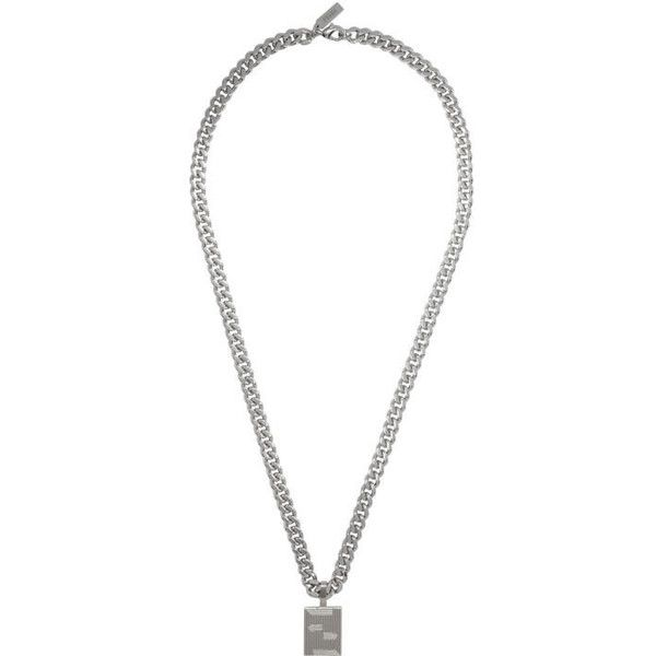 Fendi Silver Icon Logo Chain Necklace (£280) ❤ liked on Polyvore featuring men's fashion, men's jewelry, men's necklaces, silver, men's silver chain necklaces, men's silver pendant necklace, mens curb chain necklace, mens silver necklace and mens chain necklace