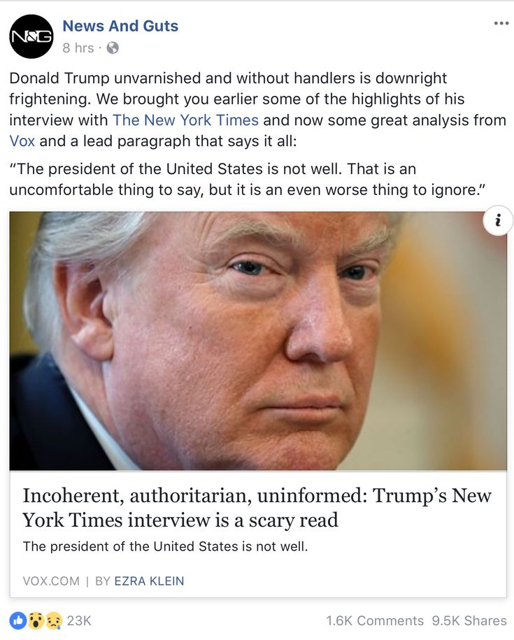 """Donald Trump unvarnished and without handlers is downright frightening. We brought you earlier some of the highlights of his interview with The New York Times and now some great analysis from Vox and a lead paragraph that says it all:  """"The president of the United States is not well. That is an uncomfortable thing to say, but it is an even worse thing to ignore."""""""