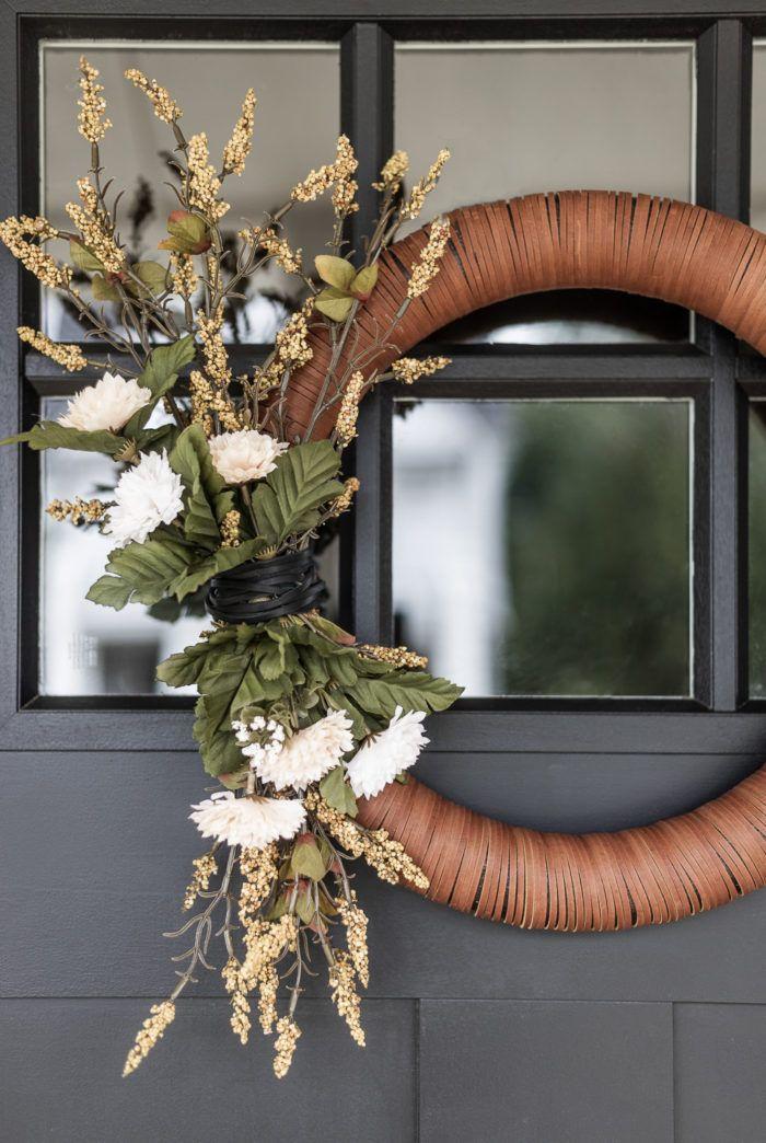 Modern Leather Fall Wreath | DIY Tutorial - Cherished Bliss Diy Fall Wreath, Fall Diy, Fall Wreaths, Door Wreaths, Grapevine Wreath, Christmas Wreaths, Wreath Ideas, Ribbon Wreaths, Tulle Wreath