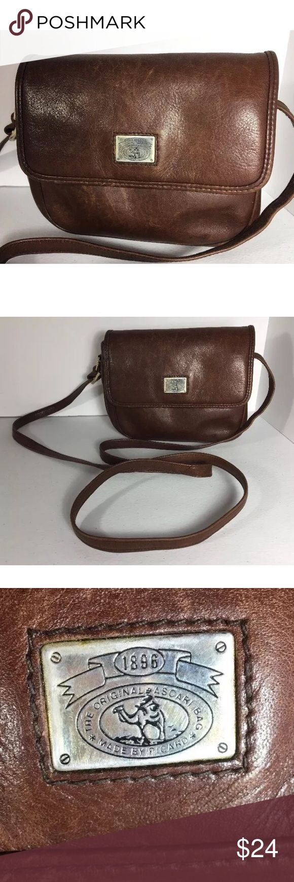 """Picard Ascori Crossbody Picard Ascori brown Leather Crossbody Bag messenger Shoulder Purse; Distressed with scuffs, has a rustic boho look; small size; measures approx 6"""" tall x 7-1/2"""" long with a strap drop up to 28"""" (adjustable); Picard Ascori Bags Crossbody Bags"""