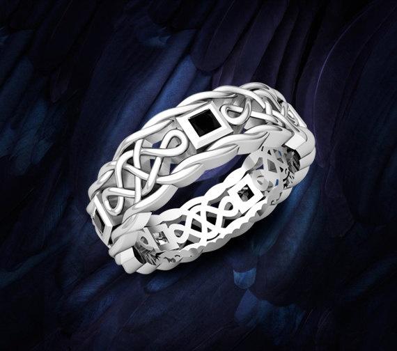 celtic knot mens wedding ring in 14k white by myloveweddingring 126500 - Medieval Wedding Rings