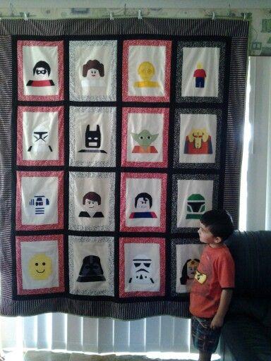 Mason's lego star wars / super hero quilt