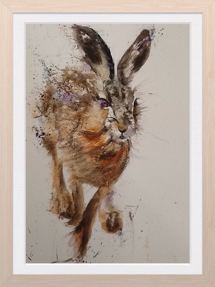 LIMITED print Of My original Watercolour Painting Of A HARE Artist L J HOLMESART