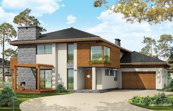 Komfortowy, bardzo oryginalny dom, o nowoczesnej architekturze. Zaprojektowano go z myślą o 4-5 osobowej rodzinie. Dom, dzięki otwarciu części dziennej na kilka stron świata może być adaptowany zarówno na działce z niekorzystnym wjazdem od strony południowej, jak i na działce z wjazdem od strony północnej lub bocznej.