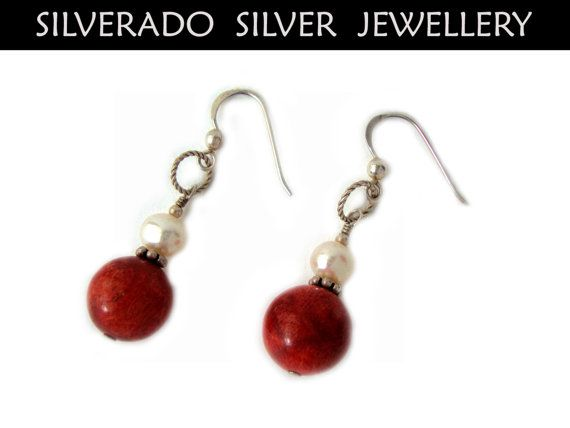 Fresh Water Pearls Coral Beads Sterling Silver 925 Dangle Earrings on Etsy, 22,00€