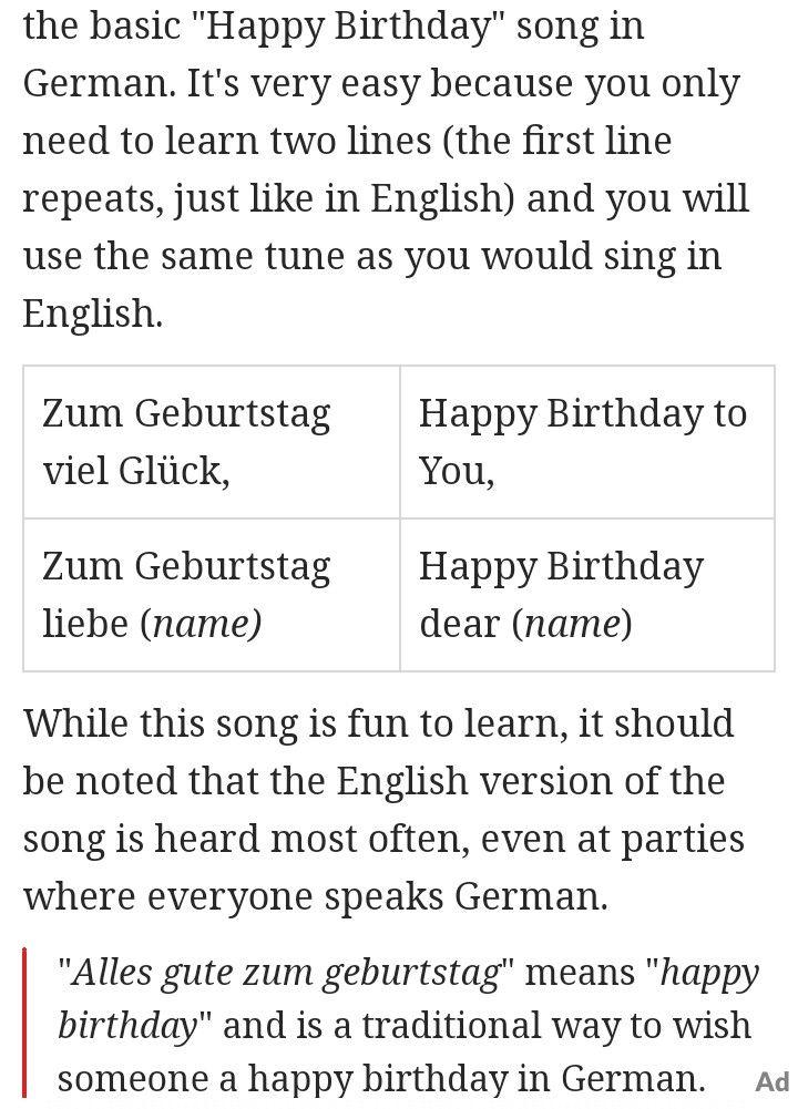 Happy Birthday In German Happy Birthday Song Birthday Songs Happy Birthday In German