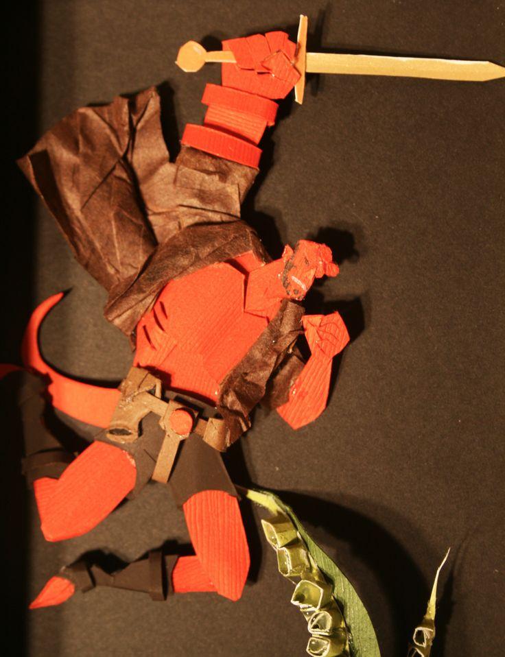 Hellboy paper art #film #movies #hellboy #darkhorsecomics #darkhorse #comics #paper #paperart #art #superhero