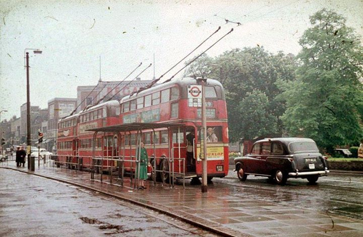 Trolley buses at The Angel Edmonton, Regal Cinema in background, not sure when