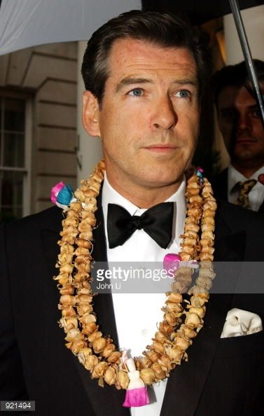 Actor Pierce Brosnan arrives for the Indian Palace Ball a benefit for UNICEF at the In and Out Club July 5 2002 in London England