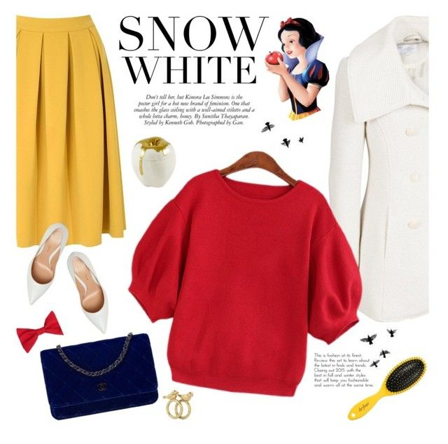 snow white by jesuisunlapin on Polyvore featuring Jessica Simpson, Glamorous, Gianvito Rossi, Chanel, Marc by Marc Jacobs, American Apparel, Drybar, women's clothing, women's fashion and women
