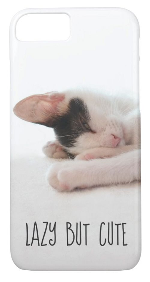 LAZY BUT CUTE iPhone 8 or 7 Case - Options to change message and upload your own image. Adorable photograph of a sleeping black white & orange calico kitten, just waking up from a nap and funny quote. Good morning lazy kitty! Perfect laziness napping humor gift for cat lover, sleepy teenager, or tired mom. Cute with lazy day outfit ideas. lolcats. meow. cat lady stuff. Affiliate Link.