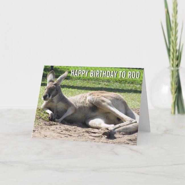 Kangaroo Happy Birthday To Roo Card Zazzle Com Funny Birthday Cards Animal Birthday Custom Greeting Cards