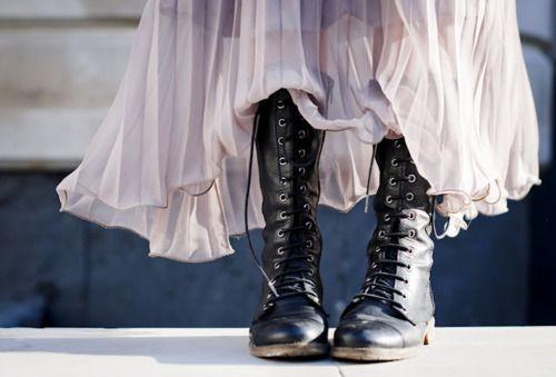 .: Women Fashion, Character Inspiration, Style, Punk Rocks, Black Combat Boots, Lace Up Boots, Long Skirts, Dresses, Maxi Skirts