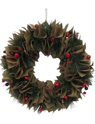 Wreath Burlap Bow Multi