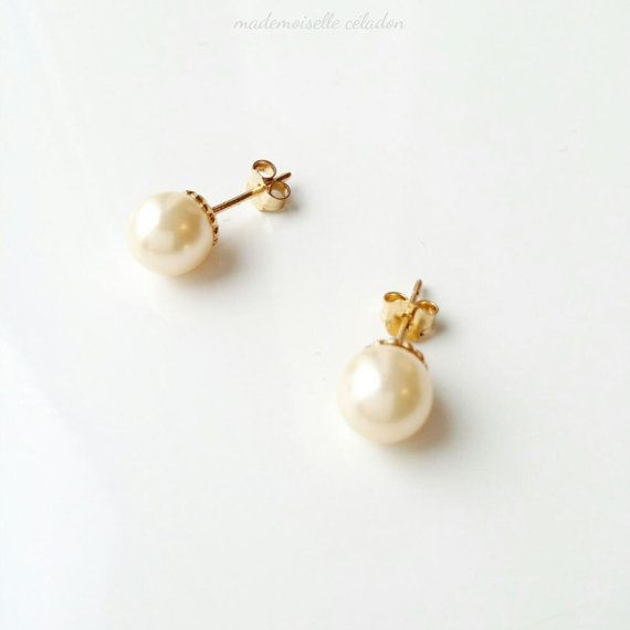 Perles de culture et plaqué or 750/000 - Puces Perles de Majorque - Majorica pearl and 750 yellow gold plated