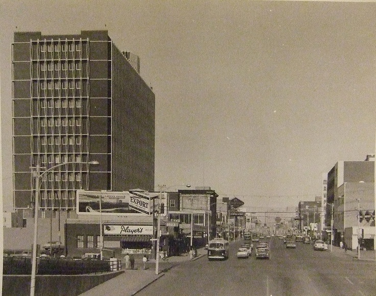 109 St and Jasper Ave, looking east, 1963.