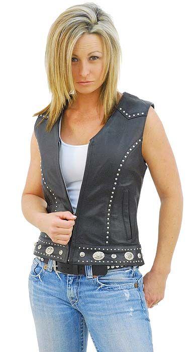 Mini Stud & Concho Zip Vest for Woman #VL4275SCZK