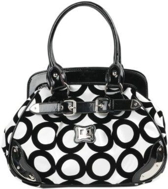 #mother's day gift idea  Black and White Chic Mod Circle Bowler Satchel Hobo Handbag  $29.99