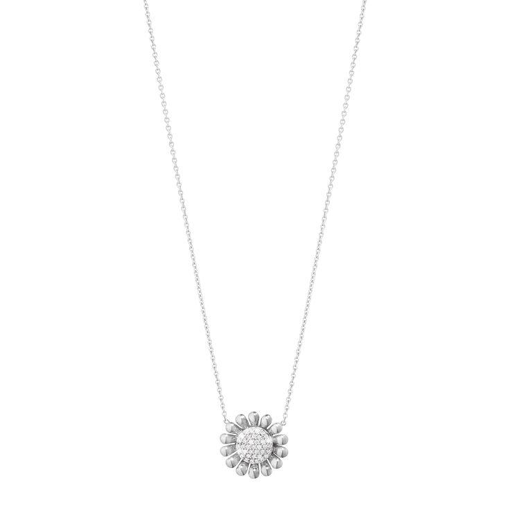 SUNFLOWER pendant - sterling silver with brilliant cut diamonds, small