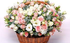 Обои эустома, beautiful, корзина, wicker, basket, нежные, lovely, Rose, розы, шикарный, букет
